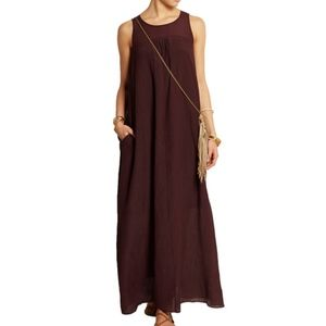 Madewell Shirred Crinkled Cotton/Silk Maxi Dress